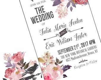 Printable Wedding Invitation / Vintage Wedding Invitation / Marchesa Inspired wedding invitation / DIY Bride