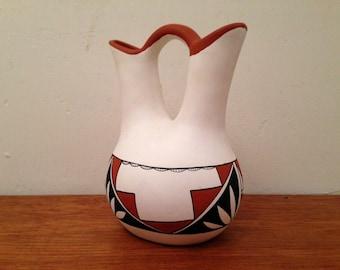 Vintage Navajo Double Wedding Vase Southwestern Tribal Painted Art Pottery Signed Olquin