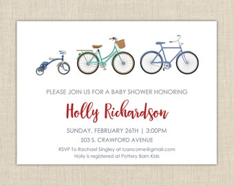 Bicycle Baby Shower Invitation. Baby Shower Invitation. Baby shower invitation boy.