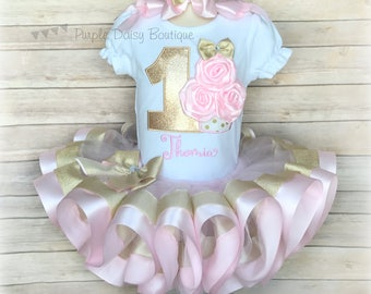 First Birthday Cupcake Ribbon Trimmed Tutu Outfit Cupcake Roses Birthday Tutu Set - Pink and Gold Birthday Tutu - Second Birthday - Cupcake