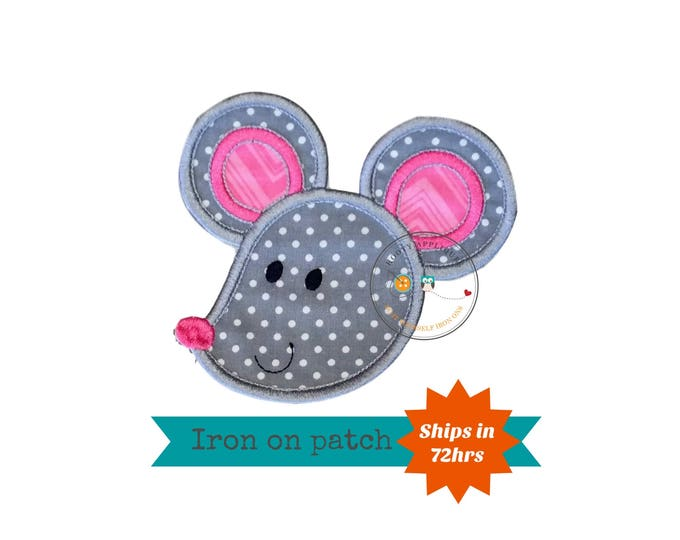 Soft gray and pink mouse face iron on applique