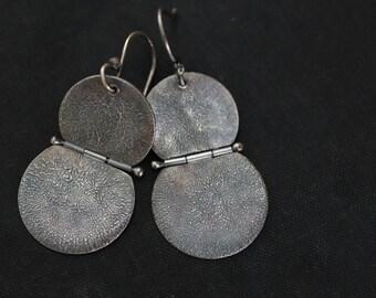 Reticulated Silver Earrings, Hinged Earrings, Disc Earrings