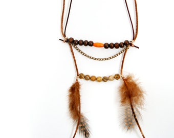 Native necklace ~ native american inspired ~leather necklace~ feather necklace ~ primitive necklace ~ tribal necklace ~Indian Necklace