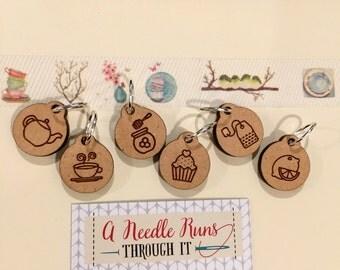 Tea Set Stitch markers set, tea lover, knitter gift. cupcake stitch marker.