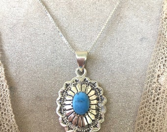 Pretty Vintage Sterling Silver Southwestern Necklace Set with Turquoise