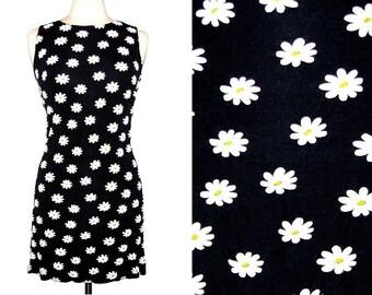 Vintage 90s JALATE Navy Blue Sleeveless Dress w/ White Daisy Print- Size L