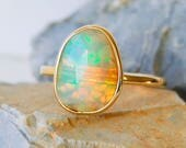 Rose Cut Opal Ring | 14K Gold Ring | Stackable | Ethiopian Welo Opal