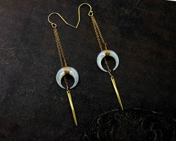 Double Horn Earrings, Long Spike Earrings. Quill and Crescent Earrings. Boho.  Available in Black, Gold or Silver. EC2342