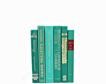 Ocean Green Teal Decorative Books, Turquoise Book Set Stack, Pastel BOok Decor, Wedding CenterpieceInstant Library, Old BOok collection