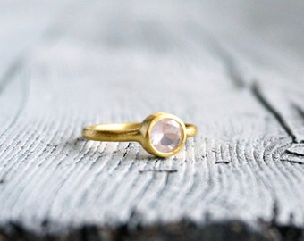 40%OFF 18K Gold Ring Rose Quartz Ring