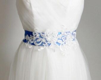 Bridal Sash Belt Wedding Sashes Belts - Lace Sash Belt Bridesmaids Flower Girl Sash Belt - Something Blue Electric Blue Ribbon Belt