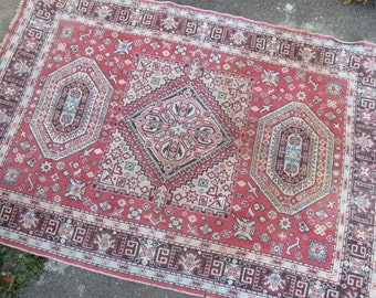 Vintage Persian/Turkish Style Rug // Antique Red Blue White Area Rug Worn Rustic Condition Boho Chic Home Decor Mid Century Modern