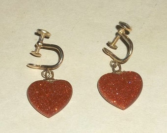 Vintage Goldstone HEART Dangle Earrings, Screw Back, Sale