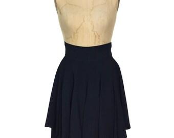 vintage 1980s MATSUDA high waist skirt / Nicole Tokyo Japan / obsidian navy blue / tiered skirt / women's vintage skirt / size medium