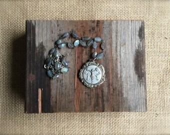 Cheer Medal Necklace labradorite silver pendant by Nancelpancel on Etsy