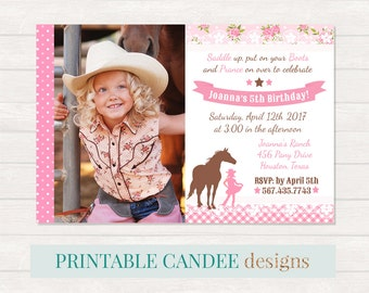cowgirl invitation | etsy, Party invitations