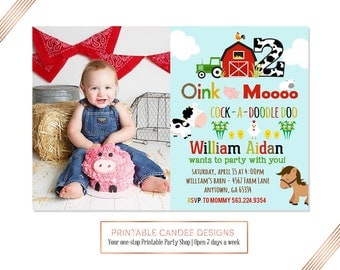 Farm Birthday Invitation, Farm Birthday Party invitation, Farm Party invite, Barnyard birthday party, Printable