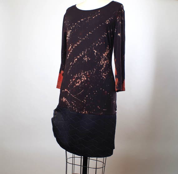 Hand Dyed Summer Dress -  Bleached Summer Dress -  Party Dress Tunic - Wearable Art - Galaxy Dress