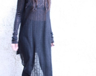 Black Dress, Black Tunic, Sheer Dress, Sheer Tunic, Cotton Dress, Cotton Tunic, Punk Dress, Festival Tunic,