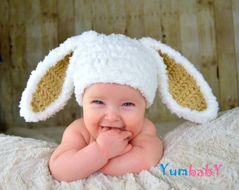 Bunny Hat White Easter bunny Hat Rabbit beanie with Floppy Ears