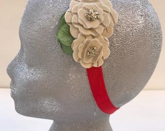 Cristmas headband~Elastic headband~Christmas gift~Flower girl~Photography prop~Photo prop~Christmas prop~Headband~Baby girl~Gift