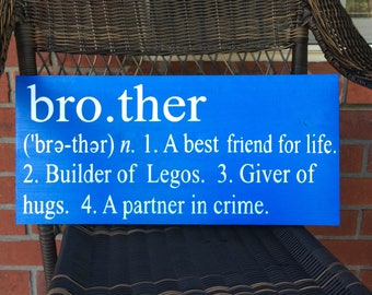 Brother Definition Sign Wood Hand Painted