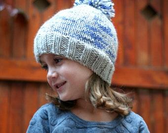 Ready to Ship Childs Knit Pom Pom Hat - Kids Winter Hat - Hand Knit Hat - Fall Hat - Childrens Hat - Boys Hat - Girls Hat - Wool Hat