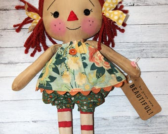 Be Your Own Beautiful Floral Bloomers Annie - Primitive Raggedy Ann Doll (HAFAIR)