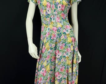 90s grunge rayon dress Casual midi dress Dropped waist fit and flare dress Long pastel colors floral dress Summer women vintage clothing M L
