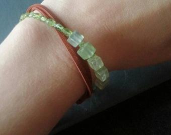 Peridot bracelet, peridot and leather bracelet, three strand wrap, green bracelet, prehnite jewelry, leather and stone, august birthstone