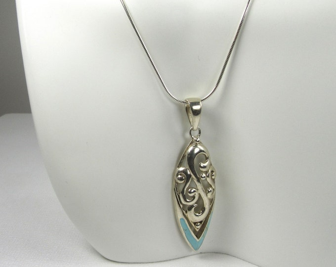 Sterling Silver Inlaid Turquoise Pendant with Sterling Silver Chain, December Birthstone, Turquoise Necklace; Turquoise Pendant with Chain