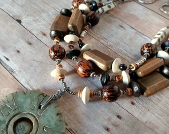 Statement necklace - wood necklace - multi strand necklace - large necklace - boho necklace - green necklace - brown necklace - wood beads