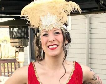 Crystal Gatsby Headband, Gold Gatsby Wedding Head Piece, 1920s Flapper Headband, Gold Ostrich Feather Head Piece Downton Abbey, Rhinestone