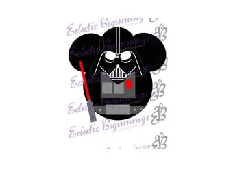 Disney Digital File, DIY Print Iron On-Disney Star Wars Darth Vader Mickey Ears JPG File