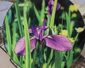 Round Glass Cutting Board - Iris - 8 inch