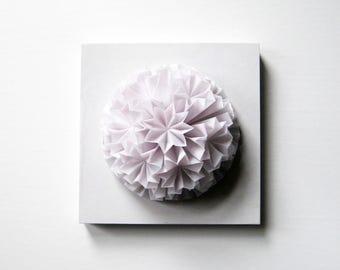 White Ball of Stars - Origami Panel No10c - White Wall Sculpture - 6x6 Square Art Tile - Kusudama Ball Origami Sculpture - White Wall Decor