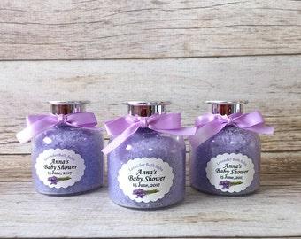 10 Lavender bath salts plastic bottle favors with personalized tags, bridal shower, baby shower, wedding favors.