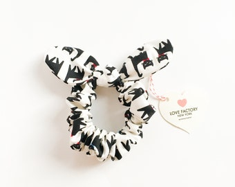 Bunny bow hair scrunchies black cat-japanese kawaii fabric bows-ponytail holder-hair ties-hair chou chou-scrunchy-Love Factory NY