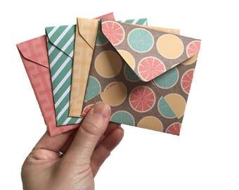 Set of 4 // Mini Square Envelopes // Mini Envelopes // Square Envelopes / Citrus Stationery / Citrus Envelopes / Gift Envelopes / Mini Cards