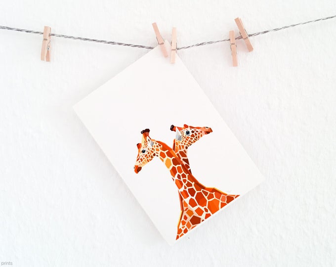 Giraffe print, Giraffe nursery art, Giraffe pair, African animals, Geometric animals, Children's room art, African wildlife art, Safari art