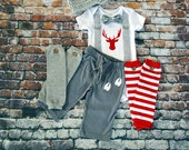 Baby Boy Deer Bow Tie and Suspender Bodysuit, Deer Track Pants, Button Leg Warmers, Newsboy hat, Boy Photo Prop, Red and Grey, Holiday