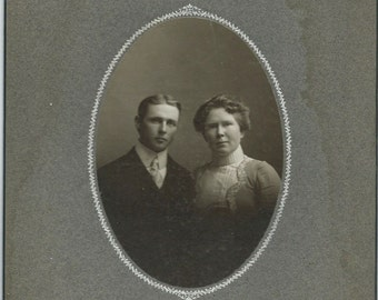 Antique Cabinet Card Photo, Handsome Young Couple, 1800s