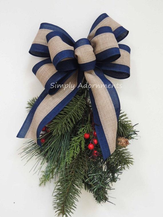 Navy Burlap Bow Rustic Navy Burlap Christmas Bow Navy Burlap Christmas Tree Bow Navy Burlap Wedding Bow Christmas Lantern Bow Navy Gift Bow