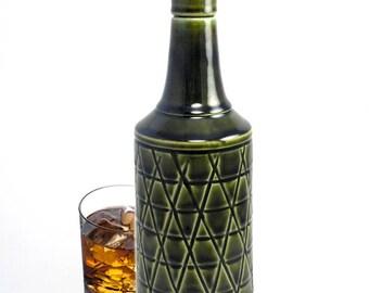 Bottle Decanter Whiskey Bottle Chevrons on Morocan Olive Green