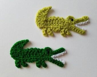 """NEW- 1pc 3.75"""" Crochet CROCODILE / ALLIGATOR Applique"""