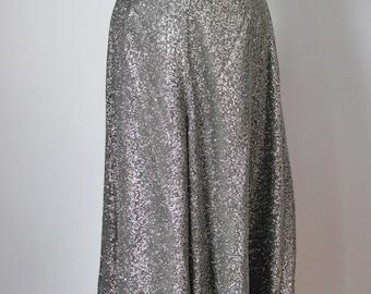 Lurex Culottes / Vtg 70s / Black and Silver Lurex Culottes  / Lurex Divided Skirt / Lurex Pants / Palazzo