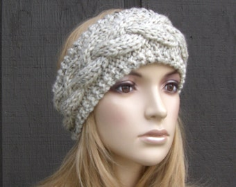 Cable Knit Headband Head Wrap Earwarmer Winter Oatmeal Tweed