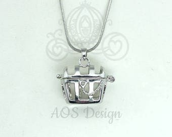 Pick A Pearl Cage Necklace Silver Plated Pirate Treasure Chest Locket Charm Multi Pearl holder Pirates