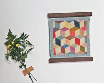 vintage CUBIST Pastel Handwoven Needlepoint Wall Hanging