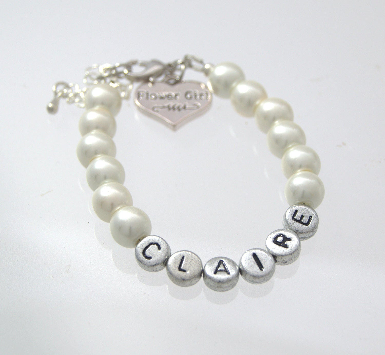 Wedding Charm Bracelet: Name Flower Girl Bracelet Wedding Jewelry Personalized